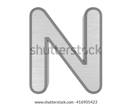 Periodic Table of Elements. Nitrogen. 3d title Isolated on white. 3D rendering - stock photo