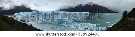 Perito Moreno Glacier and Argentino Lake in Los Glaciares National Park, Argentina - stock photo