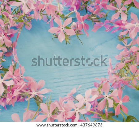 Periwinkle flowers on a wooden background - stock photo