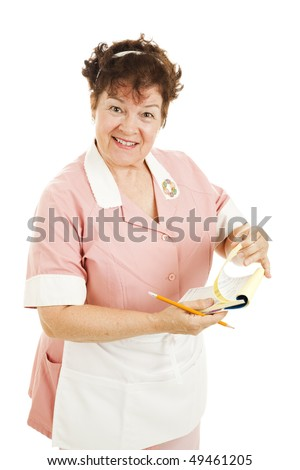 Perky, mature diner waitress in retro uniform.  Isolated on white. - stock photo