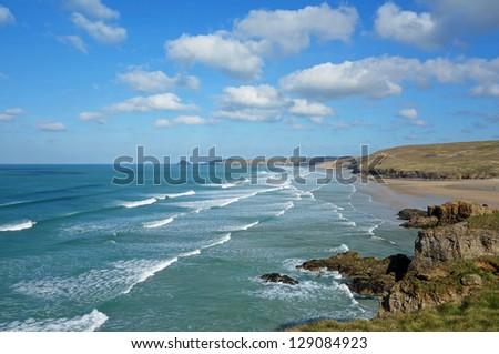 Perranporth beach waves, Cornwall England. - stock photo