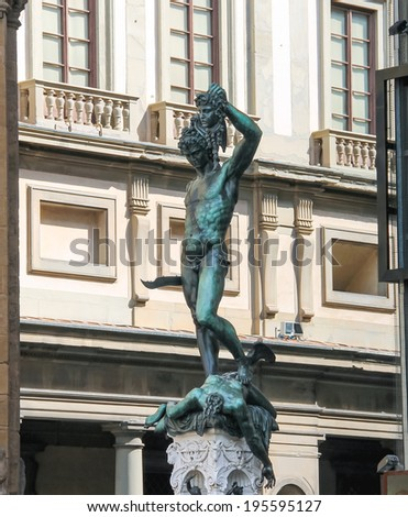 Perseus holding the head of Medusa. Statue by  Benvenuto Cellini. Florence, Italy - stock photo
