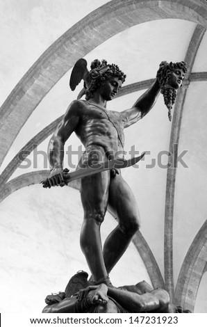 Perseus with the head of Medusa Gorgon in Loggia Lanzi, Piazza della Signoria, Florence, Italy - stock photo