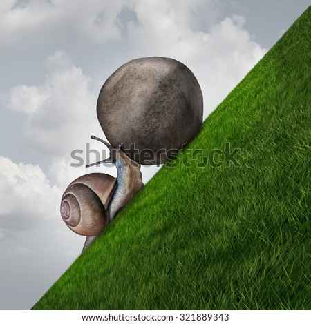Perseverance symbol and sisyphus symbol as a determined snail pushing a boulder up a grass mountain as a metaphor persistence and determination to succeed. - stock photo