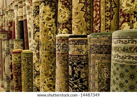 Persian carpets on display in Malaysia. - stock photo