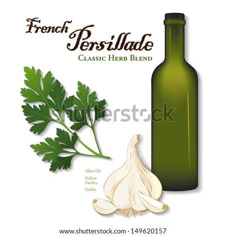 Persillade, Classic French Herb Sauce: flat leaf parsley, garlic, olive oil bottle. Also popular in Greek, Creole, New Orleans cuisines. Isolated on white. See other herb blends, spices in series.  - stock photo