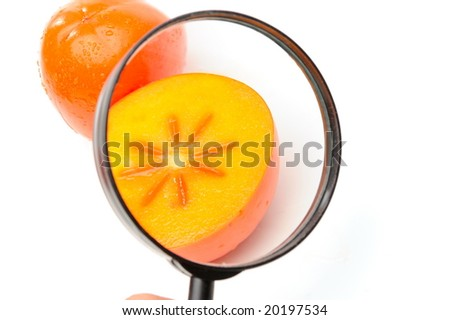 persimmon against white background - stock photo