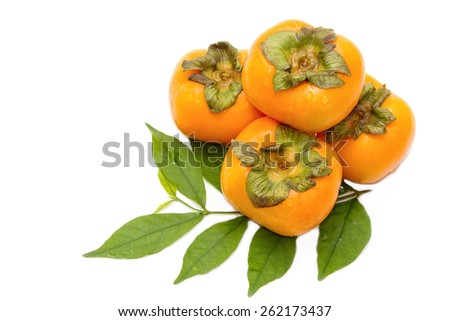persimmon fruit on a white background - stock photo