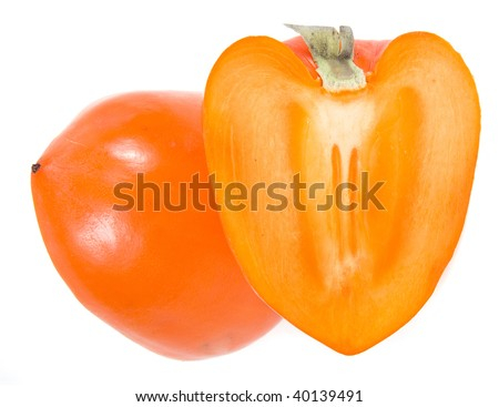 persimmon isolated on a white background - stock photo
