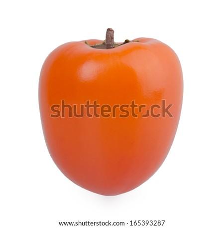 persimmon on white background - stock photo