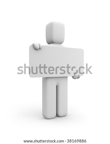 Person and blank billboard (add you text or design) - stock photo