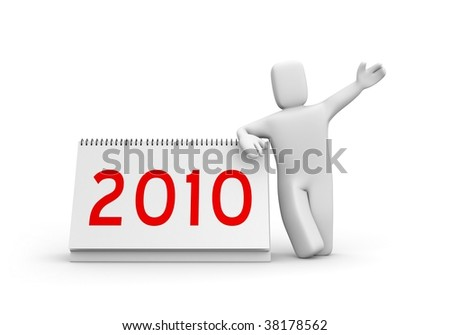 Person and calendar. Easy editable image - stock photo
