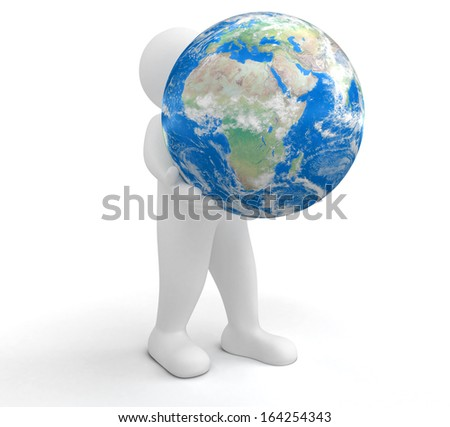 Person and Globe Elements of this image furnished by NASA - stock photo