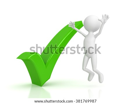 Person and green checkmark on white background - stock photo