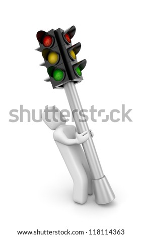 Person and traffic light - stock photo