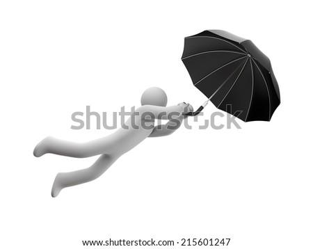 Person and umbrella - stock photo