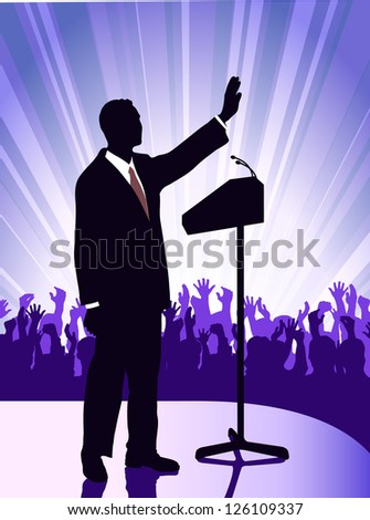person before a microphone - stock photo