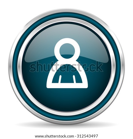 person blue glossy web icon with double chrome border on white background with shadow     - stock photo