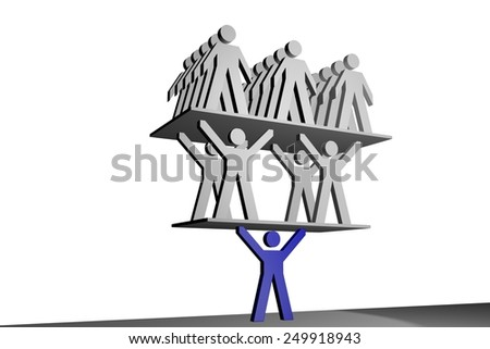 Person carries group of people - stock photo
