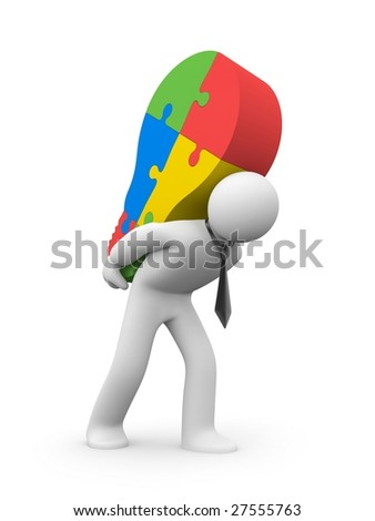 Person carry lightbulb of the puzzle - stock photo