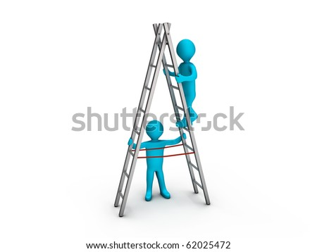 Person climbing a ladder and another keeping it steady - stock photo