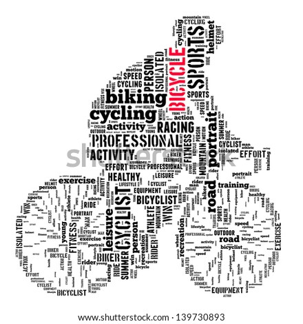person cycling info-text graphics and arrangement concept (word cloud) - stock photo