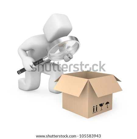Person examines parcel. Image contain clipping path - stock photo
