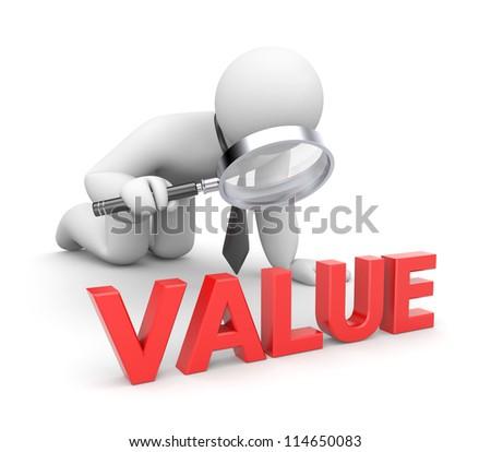Person examines value - stock photo