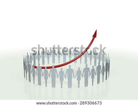 person group and Arrow - stock photo