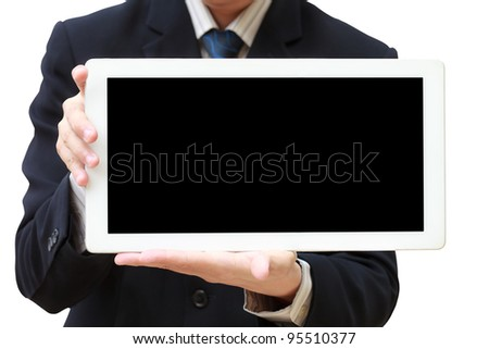 Person hand holds tablet computer isolated on white - stock photo