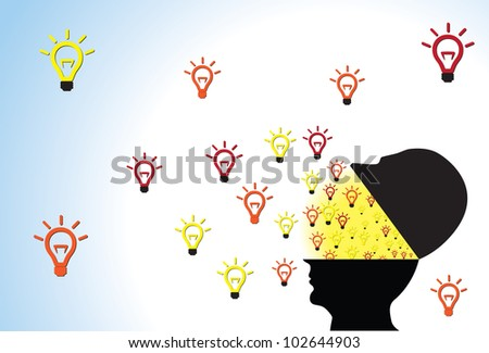 Person head opened showing ideas being created and flowing outside because of creativity, intelligence and imagination - stock photo