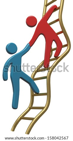 Person helping friend or partner join to climb up the golden ladder of success - stock photo