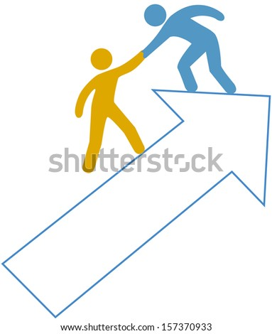 Person helping friend partner step up on arrow to success - stock photo