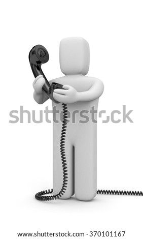 Person hold phone tube - stock photo