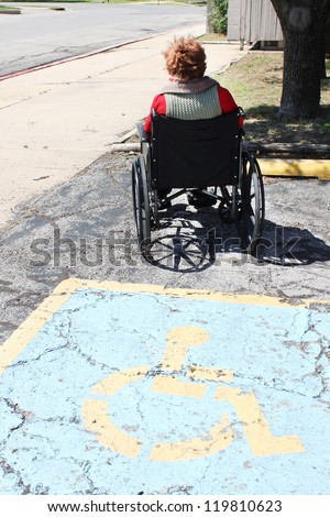 Person in a wheelchair sitting outside - stock photo