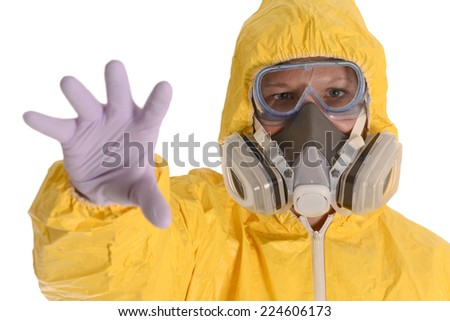 Person in Biohazard Suit reaching out for you - stock photo