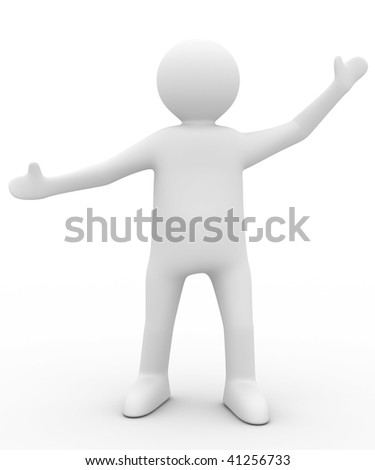 person in greeting pose. Isolated 3D image - stock photo