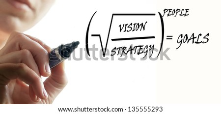 Person is writing formula for business success - stock photo