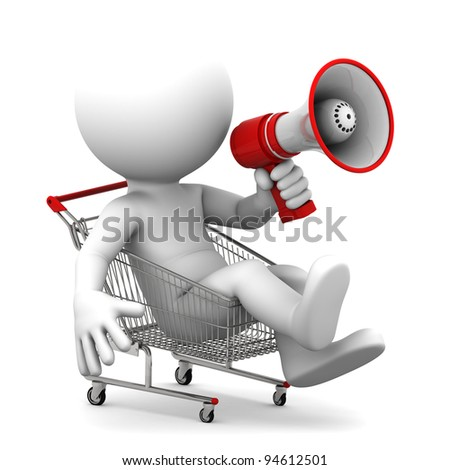 Person ith megaphone inside shopping cart. Isolated over white - stock photo