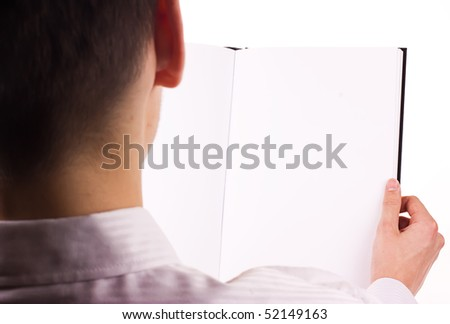 Person look on notebook - stock photo