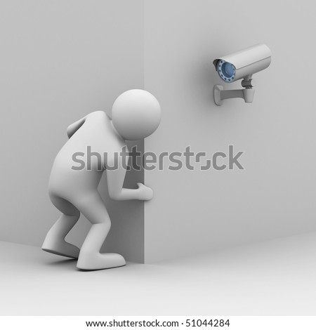 person looks out of corner. 3D image - stock photo