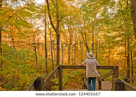 Person on Nature Trail in Brown Country State Park in Indiana in Fall - stock photo
