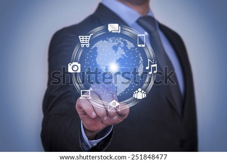 Person Presses Hologram of Digital Communication Channels - stock photo