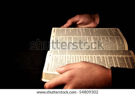 person read the Bible - stock photo