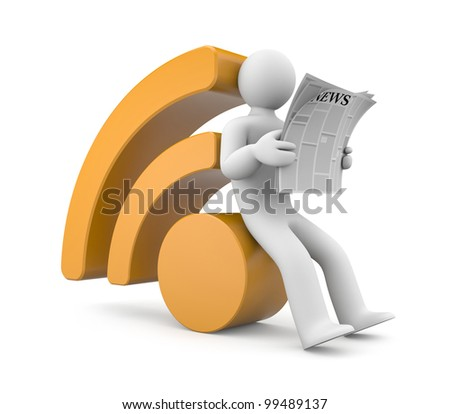 Person reading RSS news. Image contain clipping path - stock photo