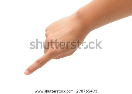 Person 's right hand pointing or pressing - stock photo