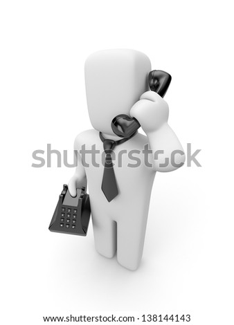 Person speak by phone - stock photo