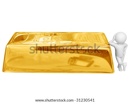 Person stand near big gold ingot. Isolated on white. - stock photo