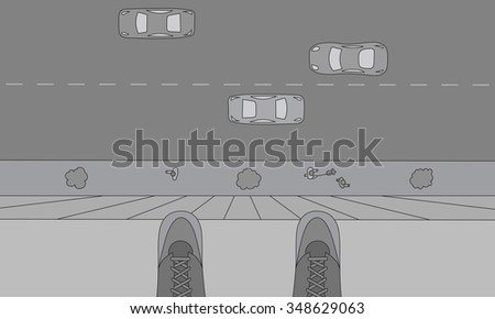 Person standing on the edge of the roof. Suicide concept sketch - stock photo