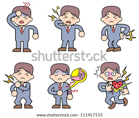 Person to complain of pain-set - stock photo